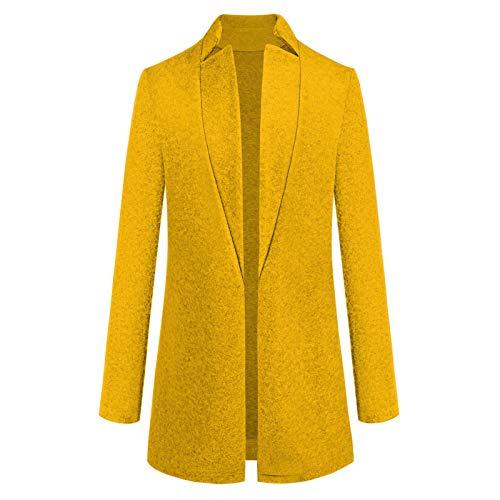 Katenyl Chaqueta de rebeca con cuello alto de color sólido para mujer Moda informal Trabajo de oficina Formal Cómodo abrigo cálido de talla grande XL