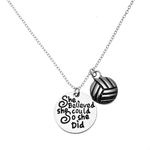 Sportybella Volleyball Necklace - Volleyball She Believed She Could So She Did Jewelry - Perfect Volleyball Gifts for Players