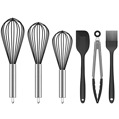 Ouddy (Upgraded) 6 Pack Silicone Whisk Set, Wire Kitchen Wisk Whisks for Cooking, Blending, Whisking, Beating, Stirring with Silicone Spatula, Basting Brush, Silicone Tongs, Black
