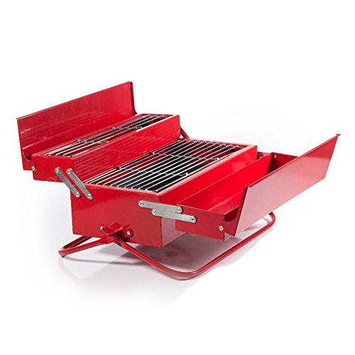 Suck Uk BBQ Toolbox Griglia, Metallo, Multicolore, 20x40.5x22 cm