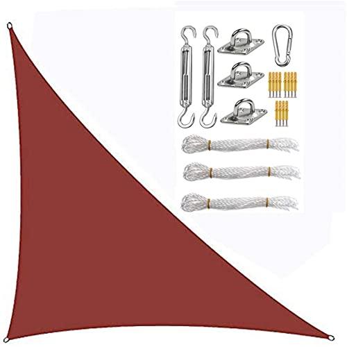 CENPENYA Vela De Sombra Triangular Impermeable Toldos Protección Solar Rayos UV con Kit De Fijación De Cuerda Gratuito para Patio, Exteriores, Jardín (3×3×4.3m,Vino Tinto)