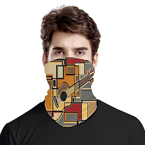 Bandana a prueba de viento, variedad de bufanda, diseño geométrico fractal con forma cuadrada con figura de guitarra acústica, para mujeres y hombres