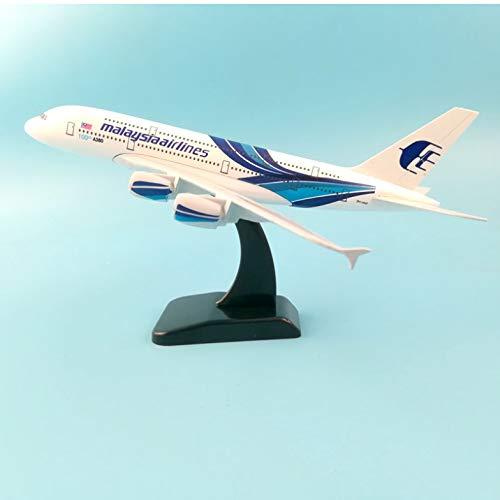 Air Passeng Plane 20Cm A380 Malasia Aleación de metal Modelo Avión Aviones Ruedas de juguete Avión Colección de regalos de cumpleaños Escritorio Juguete