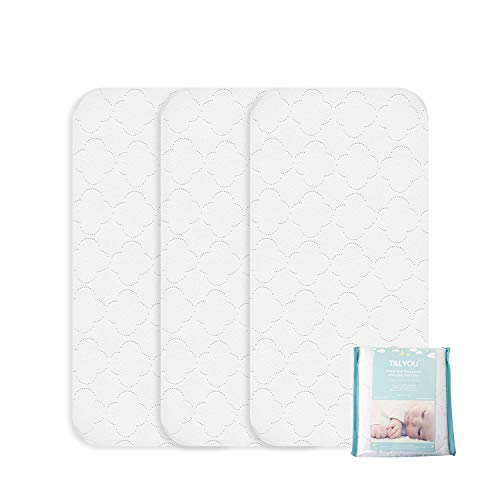 TILLYOU Thicker Quilted Changing Pad Liners Waterproof, Ultra Soft Breathable Changing Table Cover Liners, Washable Reusable Changing Mats Sheet Protector, 3 Pack