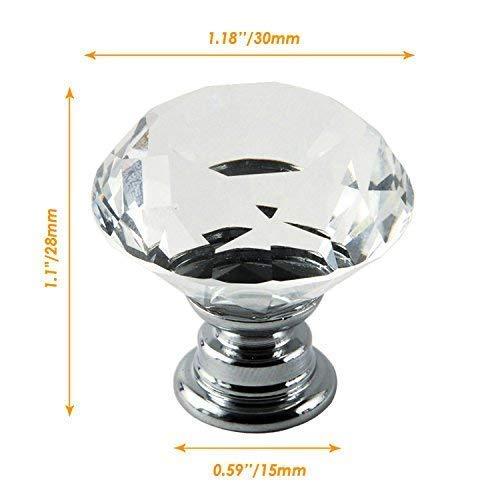 IQUALITE 12pcs Diamond Shape Crystal Glass 30mm Drawer Knob Pull Handle Usd for Caebinet, Drawer