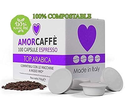 Amorcaffe 100 Compostable Lavazza A Modo Mio Compatible Coffee Capsules Pods - Top Arabica Taste - Plastic Free