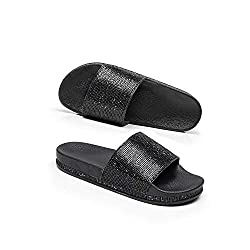Black Casual Slip Flop Thick Bottom Slippers With Rhinestones