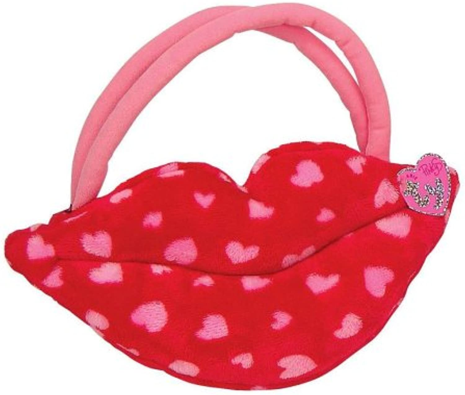 Ty Smooches  Lip Purse  Red with Pink Hearts