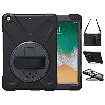 iPad Air Case 1st Generation 2013 TSQ iPad Air 1 Case Heavy Duty Shockproof   Hard Rugged Protective Cover w/Rotating Stand Handle Hand Shoulder Strap for iPad Air 9.7 Inch A1474/A1475/A1476   Black