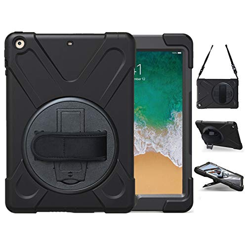iPad Air Case, TSQ Air 1 Heavy Duty Shockproof Hard Carrying Rugged Protective Case Cover for Kids with 360 Degree Rotating Stand, Handle Hand Strap&Shoulder Strap,Air 1st Gen A1474 A1475 A1476 Black