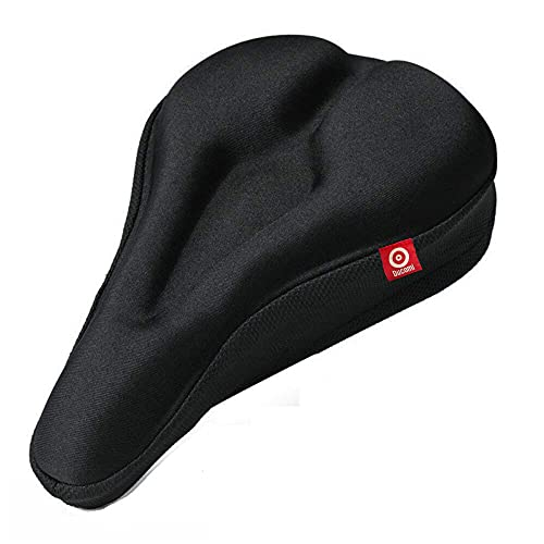 Ducomi Funda para sillín de bicicleta ergonómica y suave para pedalear sin dolor, para bicicleta con almohadilla de gel acolchada – Bicicletas de carreras y ciudad, Spinning (Black 2)