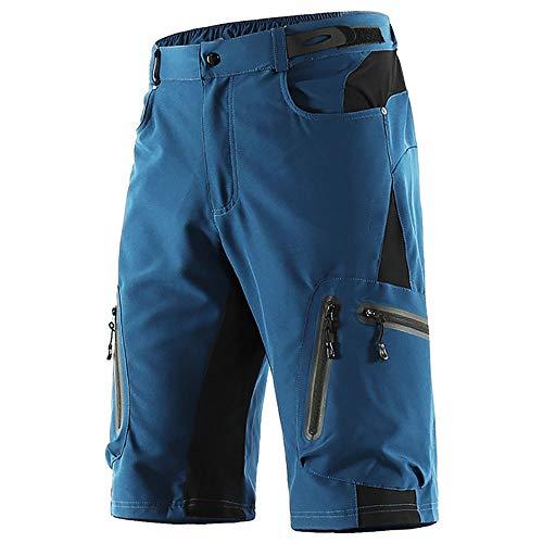 LXZH Pantalones Cortos MTB Downhill Hombre, Holgados Pantalones Ciclismo Verano Deporte Montaña Bike Bicicleta Descenso Shorts, Secado Rápido Transpirable,Blue2,M