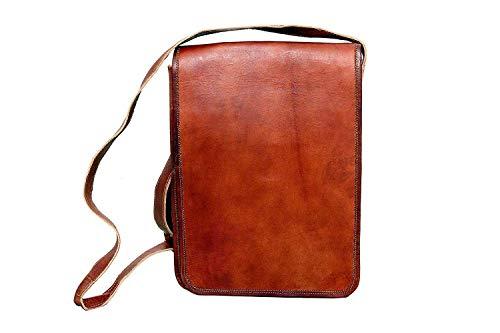 Local Street Tashet Tasche Buch Laptop Schlinge College/Campus Student Vintage Leder langen Schultergurt gepresst braunes Leder 11 x 13