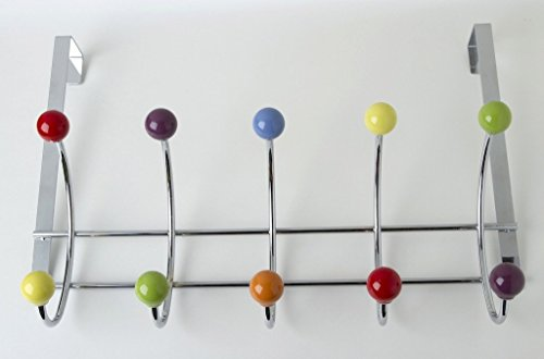 Young Schwinn Porte-manteau à 5 crochets Chrome brillant 10 boutons en porcelaine colorée