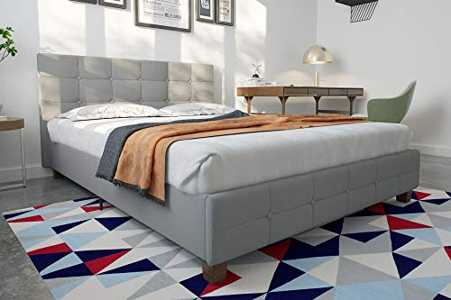DHP Rose Linen Upholstered Platform Bed, Gray, Queen