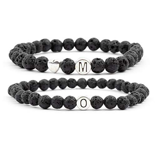 Milosa Juego de pulseras de perlas de lava para parejas – Pulsera de parejas con piedras volcánicas con las letras deseadas, pulseras de couple