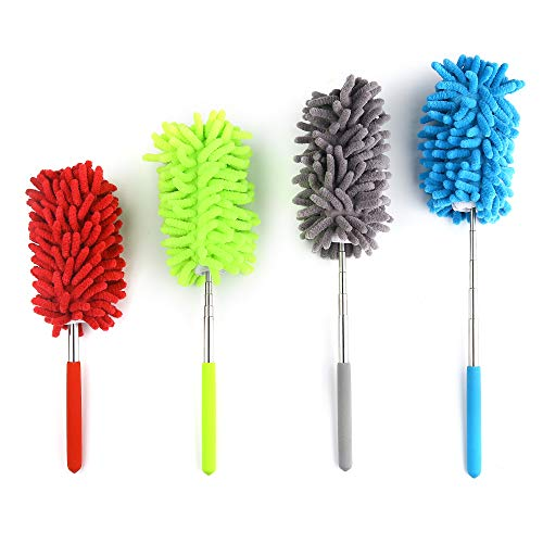 4 Pack Retractable Long-Reach Washable Dusting Brush, Microfiber Duster Washable Microfiber Cleaning Tool Extendable Dusters for Cleaning Car, Office, Computer, Furniture, Air Condition, Hand Duster