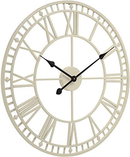 Reloj de pared sin marco con números romanos en 3D, grande, para jardín, 61 cm, resistente a la intemperie, vintage, retro, para sala de estar, color crema
