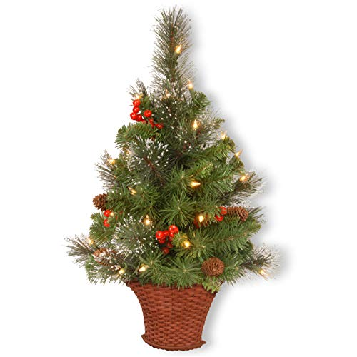 National Tree Company Pre-lit Artificial Christmas Half Tree Flocked with Mixed Decorations and White LED Lights Crestwood Spruce, 3- Foot