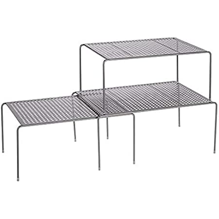 mDesign étagère de cuisine (lot de 3) – égouttoir pratique en métal pour plus d'espace de rangement – étagère cuisine télescopique rétractable – gris