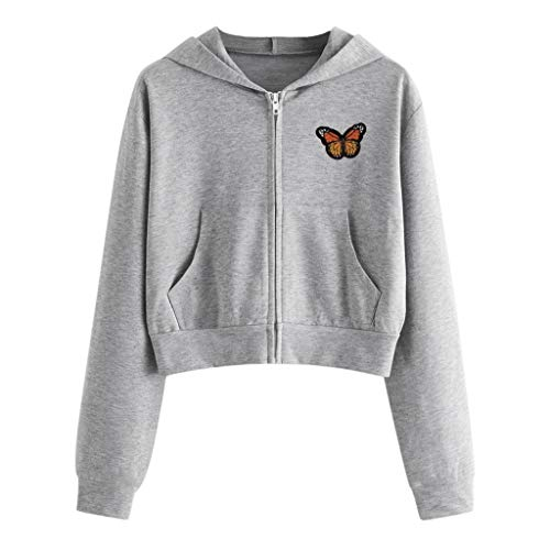 Julhold Sweatershirt para mujer casual mariposa bordado cremallera color sólido suéter top con bolsillo suéter con capucha