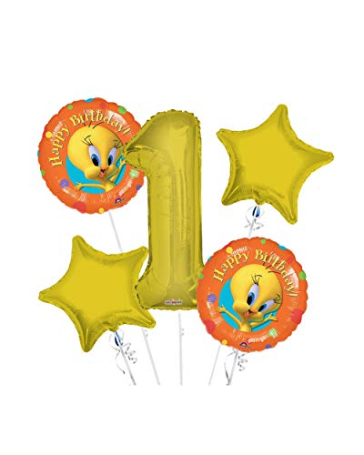 Tweety Bird Happy Birthday Balloon Bouquet 1st Birthday 5 pcs - Party Supplies
