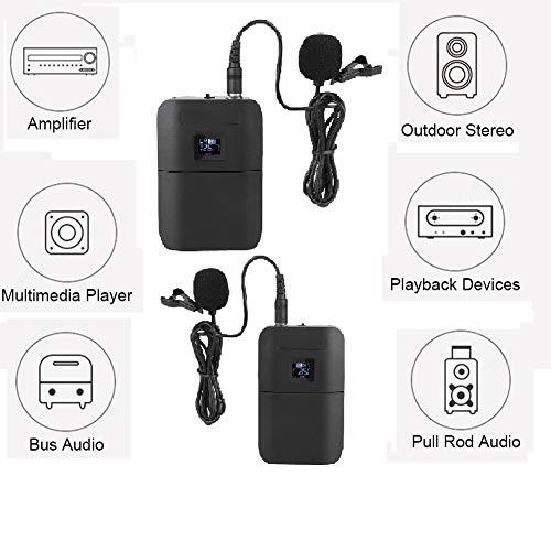 Micrófono de Solapa inalámbrico de Solapa VHF de 2 Canales y 2 micrófonos, con transmisor de petaca, Mini micrófono de Solapa Hembra XLR y Receptor portátil para presentaciones en Vivo