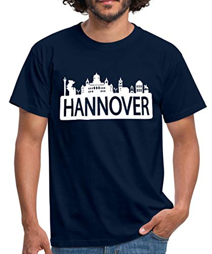 Skyline Hannover Männer T-Shirt, L, Navy