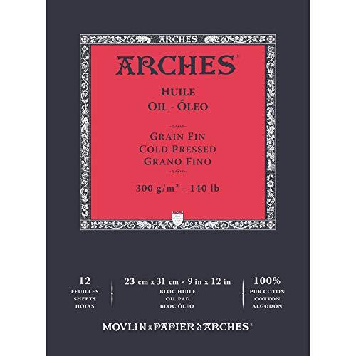 ARCHES Huile 100% Fino 300g Bloc Encolado 23x31 12 Hojas Blanco