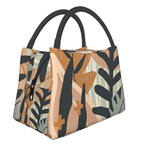 Bolsa de almuerzo portátil con aislamiento fresco (Plantas estéticas creativas abstractas) 8.5L