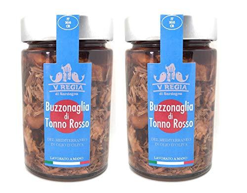 Buzzonaglia de Atún rojo del Mediterráneo en aceite de oliva IV Regia di Sardegna - 2 paquetes de 185g - Hecho a mano en Cerdeña, Italia - Buzzonaglia es la carne más sabrosa del atún