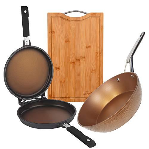 San Ignacio Set de cuisson rapide : poêle double de Ø26 x 7,5 cm, poêle Wok de Ø28 x 7,8 cm et planche à découper en bois de bambou, induction
