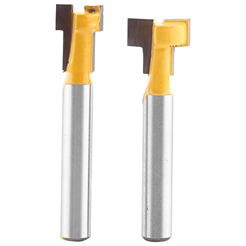 Akozon Yellow T-Slot Cutter Router Bit, Shank Cutter 1/4'' Shank Steel Handle T-Slot Cutter 3/8
