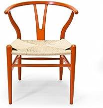 Wegner CH24 Wishbone Chair, Set of 2, Orange Painted Beechwood Replica