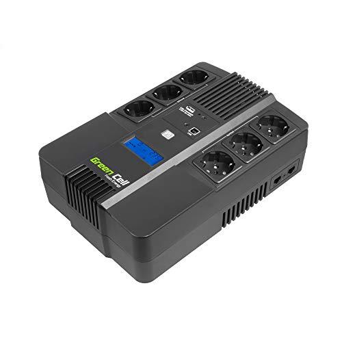 Green Cell® UPS USV Unterbrechungsfreie Stromversorgung 800VA (480W) mit Überspannungsschutz 230V Line-Interactive AVR Power Supply USB/RJ45 6X Schuko Ausgänge LCD Bildschirm