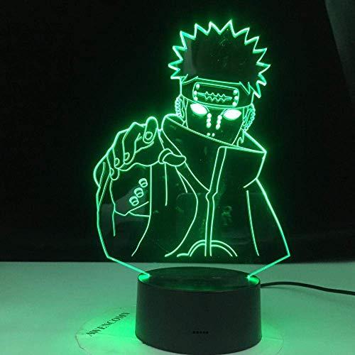 Lámpara De Ilusión 3D Luz De Noche Led Seis Caminos De Dolor Niños Cambio De Color Dormitorio Infantil Naruto Nagato Lámpara De Escritorio Mejor Cumpleaños Para Niños