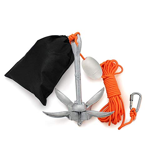 AITREASURE Small Boat Anchor Kit Folding Grapnel Anchor Carbon Steel for Kayak, Canoe, Jet Ski 3.3 lb with 32.8 ft Anchor Tow Rope Carrying Bag