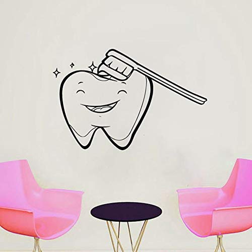Calcomanías de pared de oficina dental dentista sonrisa pegatinas de pared de vinilo salud dental hospital dental decoración interior cepillo mural