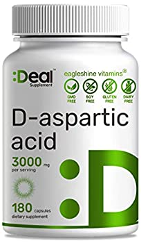 DAA D-Aspartic Acid 3000mg Per Serving 180 Capsules Non-GMO & Gluten Free Made in USA - Ultra DAA Supplement