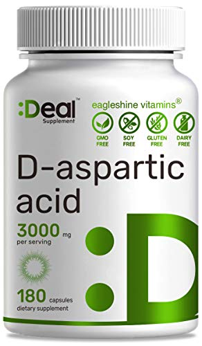 DAA D-Aspartic Acid 3000mg Per Serving, 180 Capsules, Non-GMO & Gluten Free, Made in USA - Ultra DAA Supplement