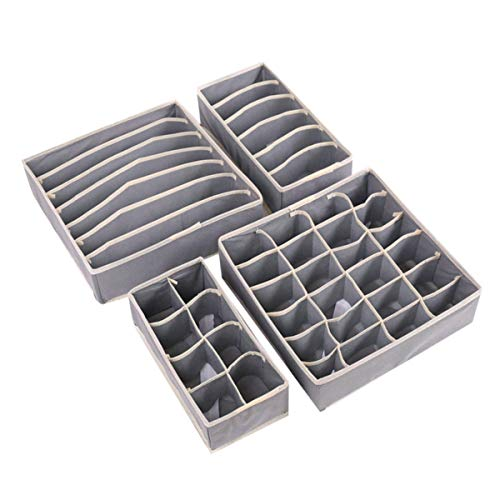 JZK 4 x Aufbewahrungsbox Faltbare Ordnungsbox Schubladen Organizer Schubladen Ordnungssystem für BHS Socken Unterhosen und Kleine Zubehörteile