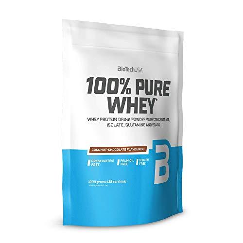 BioTechUSA 100% Pure Whey Premium Protein Isolat Pulver mit zusätzlichen Aminosäuren, glutenfrei, palmölfrei, aspartamfrei, 1000g, Kokosnuss-Schokolade