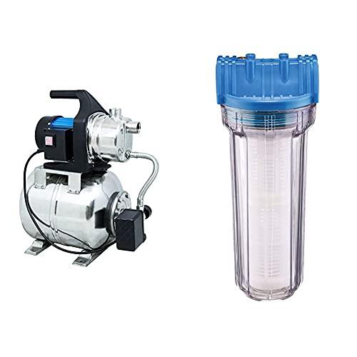 Güde 94637 HWW 1000E Hauswasserwerk (1000W, 3500l/h, Druckschalter, 19 l Edelstahltank, Förderhöhe 44M) & 94462 Typ B Wasserfilter, Blau, transparent