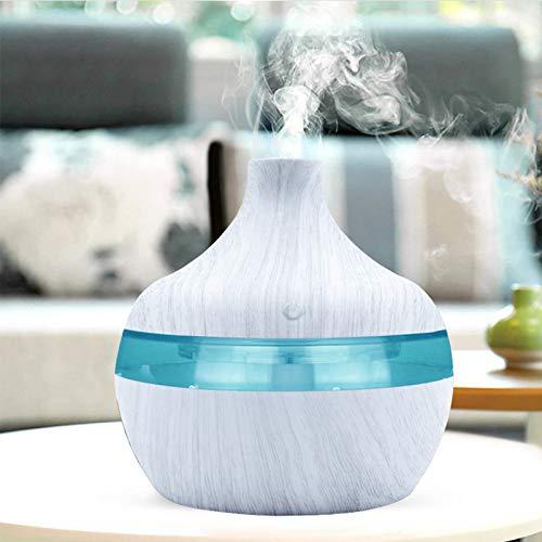 Humidificador Aromaterapia,Difusor de aromaterapia de aceite esencial de grano de madera, humidificador de aire doméstico con carga USB, purifica (Blanco)