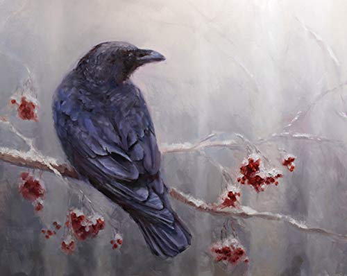 Winter Raven Wall Art Print of Bird in Snowy Forest Artwork Measuring 5x7 Inches