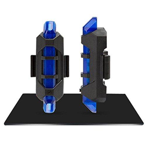 Bicicleta Luz trasera, fundido Power 5LED USB recargables Agua Densidad trasera para bicicleta, ultra claro 4modos de opciones Easy Install & Quick Release cola lámpara de advertencia, azul