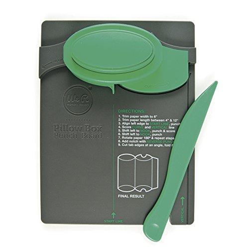 Rayher 58595000 Pillow Box Punch Board von We R Memory Keepers, 25,8 x 15,2 x 4.5 cm, Falz-und Stanzwerkzeug zum Herstellen von Kissen-Geschenkboxen in verschiedenen Größen