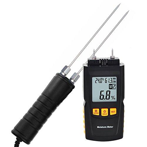 Humidimètre numérique bois 2~70% / Humidité 20~90% RH/température -10 ~ Testeur de 60 ° C, bois, détecteur d'humidité Portable, mesurer le pourcentage d'eau dans le plâtre, papier,