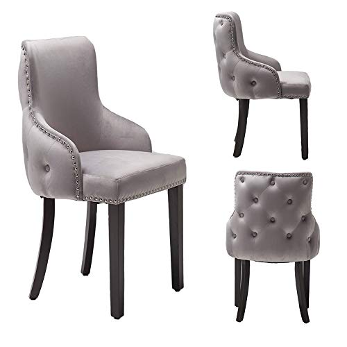 PS Global Set mit 2 luxuriösen Grace-Esszimmerstühlen, leicht zu montierender Chrom-Nieten, getufteter Rücken, tiefem Knopfrücken, Plüschsamt Neu (Hellgrau)