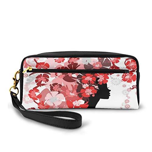 Pencil Case Pen Bag Pouch Stationary,Flower Girl Hair Long Swirling Pink Blossoms Hair Dressers Beauty Feminine,Small Makeup Bag Coin Purse
